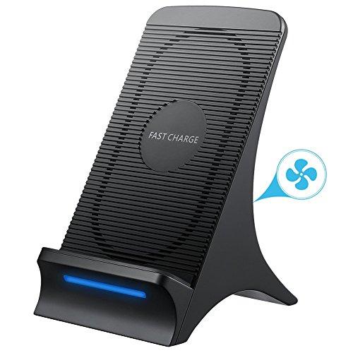 【Aktualisierte Version】Fast Wireless Charger, NOVETE Qi Ladegerät Induktive Ladestation mit Lüfter für iPhone&Samsung, Induktives Ladegerät Kabellose Schnellladestation für Samsung Galaxy S9/S9 Plus/S8/S8 Plus/Note 8/S7/S7 Edge/S6 Edge Plus/Note 5, Standard Lademodus - Wireless-ladestation Iphone