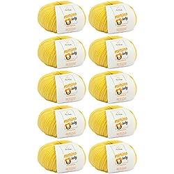 MyOma Ovillo de Lana de Merino para bebé, en 7 Colores, Incluye Etiqueta Gratis, Lana de bebé esponjosa, 25 g/140 m, Grosor de la Aguja de 2,5 - 3 mm, Lana, Vanille (FB 6015), 10 Knäuel
