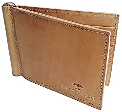 NUKAICHAU Brown Tan Single Fold Mens Hunter Money clipper Wallet