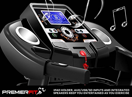 51Cx2atCYUL - PremierFit T330 - Motorised Electric Treadmill/Folding Running Machine with 20-Level Automatic Incline - Heart Rate Monitor, AUX/USB/SD Inputs and Speakers - 4.5HP Motor