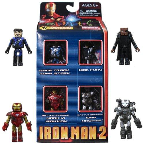 Iron Man 2 Movie Exclusive Minimates Mini Figure 4Pack Boxset Race Track Tony Stark, Nick Fury, Battle Damaged Mark VI Iron Man & Battle Damaged War Machine (Inc Exclusif)