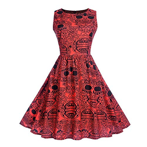 EU40 Femmes Halloween sans manches Cou impression de soirée Robe de bal Swing Robe de bal (Color : Rouge, Taille : S)