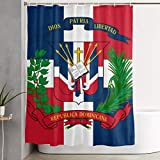 ANTOUZHE Cortina de la Ducha Dios Patria Libetad Republica Dominicana Shower Curtain Dry-Wet Separation Waterproof Bathing Curtain Durable Bathroom Decor Set Bathroom Hotel Decoration