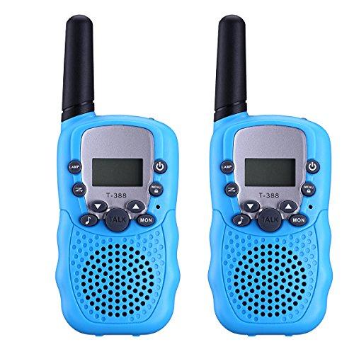 alkie Funkgerät Funkhandy UHF 446.00625-446.09375MHz Vox 8 Kanäle mit LC-Display für Geschenke Mikrofon Kinder Baby Kleinkind ab 5 Jahre(Blau) (Spongebob Geschenk-taschen)