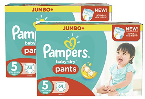 Pampers Baby Dry Pants Taille 5 Junior 12-18kg Jumbo Plus Pack 128 Couches