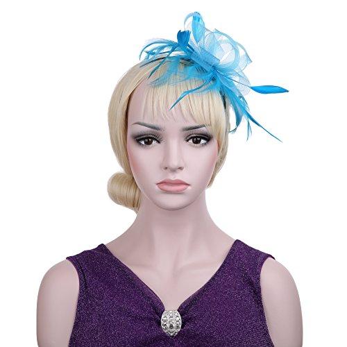 vglook Blume Cocktail Tea Party mit Kopfbedeckungen Feder Fascinator Derby Hut für Mädchen und (Kostüme Für 1950's Mädchen)
