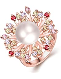 AMDXD Schmuck Vergoldet Damen Ringe (Eheringe) Rose Perlen Bunten Gr.57 (18.1)