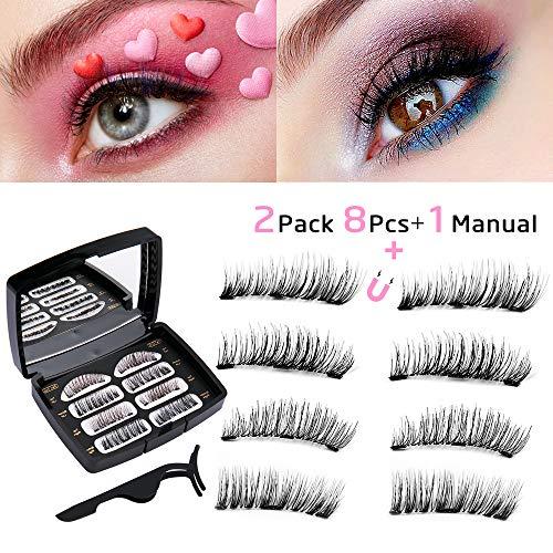 5345142494e Magnetic Eyelashes, Icnow False Eyelashes 3D Natural 3 Magnets Extension Magnetic  Eyelashes No Glue Reusable