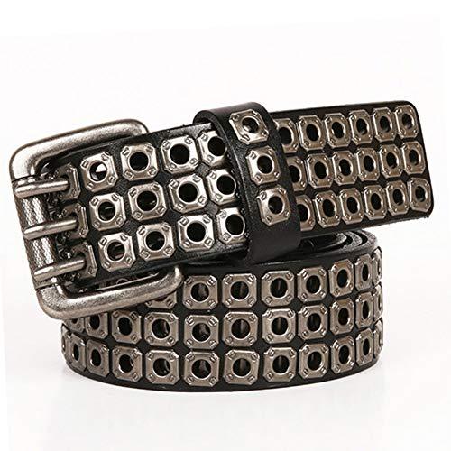Ddcjc Cinturón Heavy Metal Cowboy Cinturón Punk Cinturones De Hip Hop De Cuero Genuino Para Hombres Cruzada Remache Jeans Cinturón Masculino Correa Homme