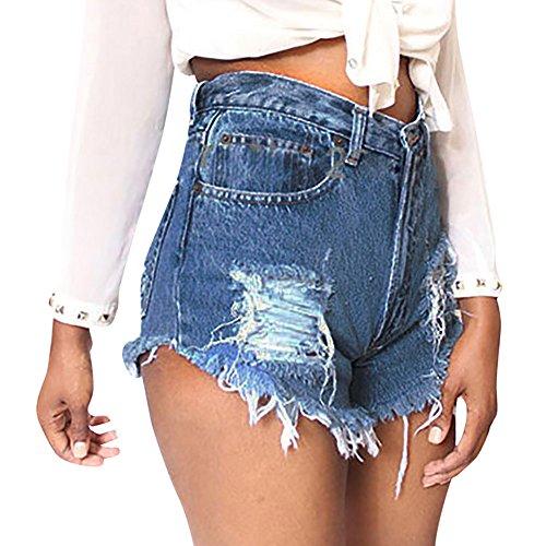 Uomogo shorts donna vita alta jeans strappati ragazza pantaloncini eleganti (s, blu)