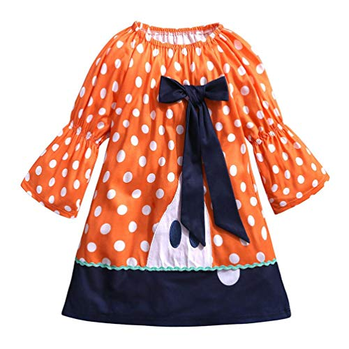 (HUKZ Baby Mädchen Bowknot Stickerei Kleider Halloween Kostüm Outfits (Orange, 80))