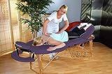 Reiki Massageliege / Massagebank, Oval - Rund, mit viel Zubehör, lila