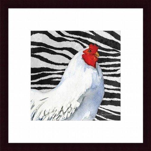 Blk Akzente (Printfinders Zebra Rooster von Barb Tourtillotte Kunstdruck)