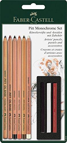 Faber-Castell 112998 – Set Pitt Monochrome de 6 lápices y 3 tizas