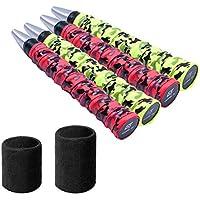 Sobregrip tenis cinta de agarre de raqueta, sobregrip de raqueta de 2 pares para tenis Badminton Squash equipado con 2 piezas de pulsera deportiva para sudar y proteger (sobregrip Y muñequera tenis)
