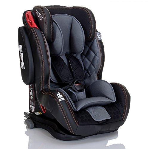 LCP Kids Saturn GT Isofix Autokindersitz von 9 bis 36 kg Autositz mit SPS und Liegepositionen - Normgruppe 1 2 3 - schwarz