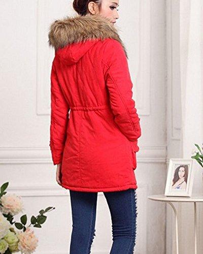 Donne Giacca Lungo Parka Con Cappuccio di Pelliccia Ecologica Coulisse Cappotto Calda Maniche Lunghe Rosso 1