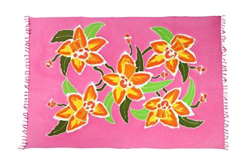 Original Yoga Sarong Pareo Wickelrock Strandtuch Rund ca 170cm x 1110cm Handtuch Schal Kleid Wickeltuch Wickelkleid Handmade Flower Hibiskus Pink (Kleid Sarong Hibiskus)