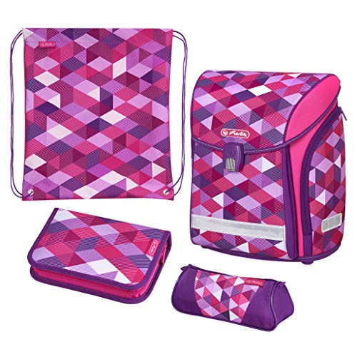 fbe820fda1 Herlitz Schulranzen Midi, Schüleretui, Faulenzer dreikant und Sportbeutel  Pink Cubes Cartella 38 centimeters Rosa (Pink)