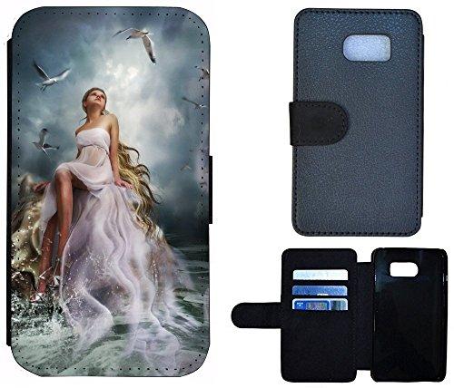 Flip Cover Schutz Hülle Handy Tasche Etui Case für (Apple iPhone 5 / 5s, 1123 Wolf Mond Blau Weiß) 1120 Frau Animiert Meer Blau Weiß