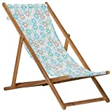 OUTLIV. Hochwertige Strandliege Holz Sylt Strandstuhl Klappliege Akazie/Polyester Braun/Weiß-Blumenmuster Campingliege