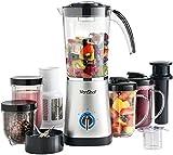 VonShef 4 in 1 Multifunctional Silver 1 Litre Smoothie Maker, Free 2 Year Warranty - 1.5 Litre Blender, Juicer, Mugs & Grinder