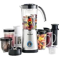 VonShef Mixeur 4 en 1 - Blender multifonctions, Appareil à smoothie, Centrifugeuse à jus et Broyeur - Bol 1L - Argent