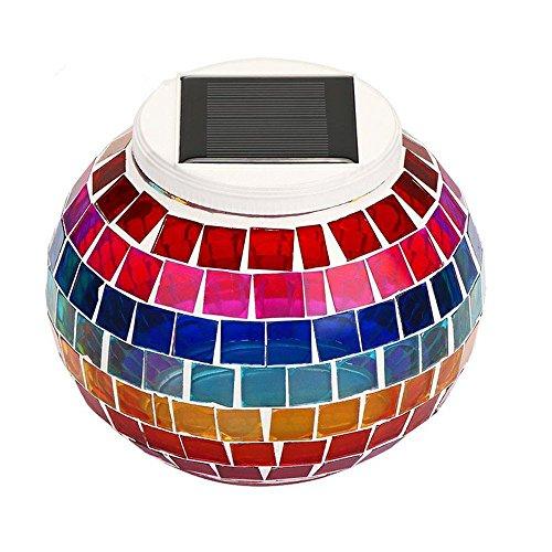 yeaom-solar Glas Ball Tisch Licht Farbwechsel Solar Powered Mosaik Glas Tisch Lampen,Dekorative LED Nachtlicht für Weihnachten Home Schlafzimmer Yard Terrasse, ideal Geschenke, regenbogenfarben - Mosaik-tisch-lampe