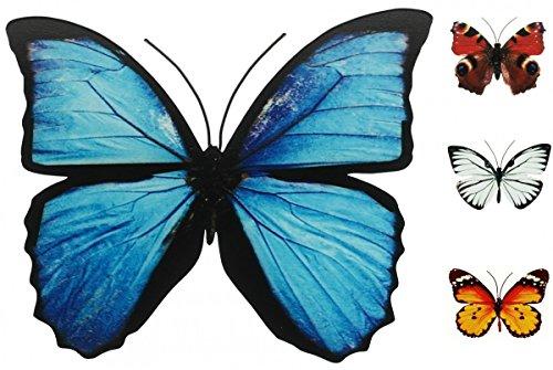 Schmetterling Metall Wand Deko Bunt Garten Wandschmuck Falter Schmetterlinge, Farbe:Blau, Größe:30 cm (Metall Wand)