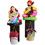 TiedRibbons Wall Hanging Artificial Flowers Pot With Wall Shelf And Rajasthani Figurines | Rajasthani Items For Home Decor | Showpiece For Home Decore | House Warming Gift Set | Decorative Items For Office | Christmas Decor For Home