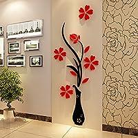 3d florero Murales para salón o dormitorio de fondo pared Arcylic, pegatinas de originalidad, adhesivo pared bricolaje decoraciones de pared (30 (ancho) x 80 (altura) cm)