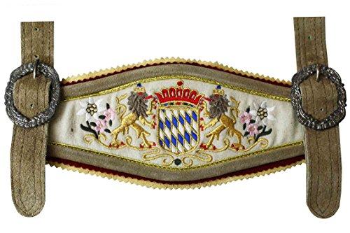 GermanWear, Lederhose Hosenträger mit Bayerischem Wappen-stickerei, Farbe:Beige