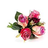 artplants Deko Rosenstrauß Mini - Molly, rosa - pink, 28 cm, Ø 15 cm - Kunstrosen/Künstliche Blumen