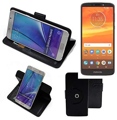 K-S-Trade® Hülle Schutzhülle Case für Motorola Moto E5 Plus Dual-SIM Handyhülle Flipcase Smartphone Cover Handy Schutz Tasche Bookstyle Walletcase schwarz (1x)