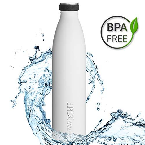 720°DGREE Edelstahl Trinkflasche milkyBottle- 1000ml, 1l | Isolierflasche Schmal | Thermosflasche Auslaufsicher | Perfekte Outdoor Thermoskanne für Kinder, Schule, Sport, Training, Fitness, Gym