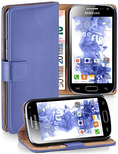 moex Cover a Libretto Compatibile con Samsung Galaxy Ace 2 | Fessura Carta + Soldi, Supporto, Celeste