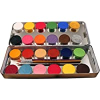 Eulenspiegel 224007 - Palette in metallo con 24 colori per face-painting + 3 pennelli professionali