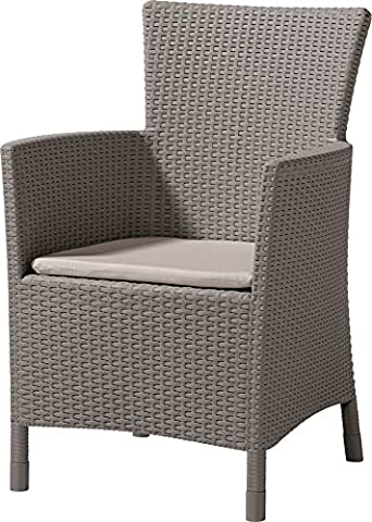 KETER Iowa Rattan Style Dining Chairs Garden seats with cushion Weather Resistant