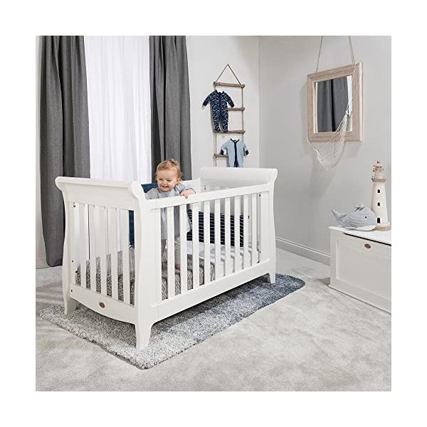 Boori SleighExpandableTM- Barley Boori Converts from cot bed to toddler bed - toddler guard panel sold separately Converts to a full size single bed -L 197cm W 108cm H 110cm-expandableconversion kit included Built from solid australian araucaria 5