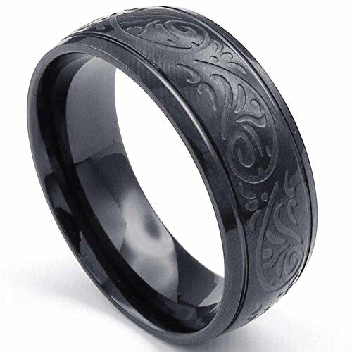 AnaZoz Schwarz geschnitzte Florentiner Design Charm 57 (18.1)mm Band Mens Edelstahl Ring Größe 69 (22.0)