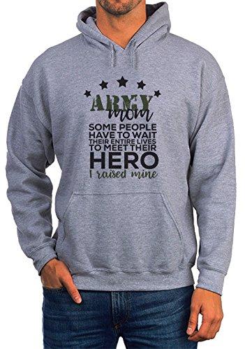BlackMeow Army Mom Hero Grey Unisex Hoodie - Medium Army Wife Sweatshirt