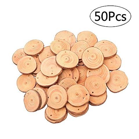 ULTNICE Holzscheiben Holz Scheiben Verzierungen runde Holz Stücke DIY Craft 4-5CM mit Jute Twine Pack von 50