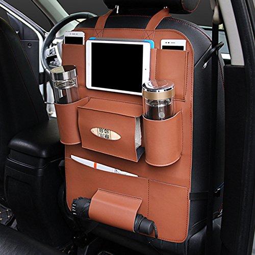JenNiFer Multifunktionale Pu-Leder Auto Rücksitz Aufbewahrungstasche Multi Pocket Phone Cup Holder Organizer - Schwarz