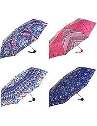 Lois - Paraguas Plegable Estampado. 8 Varillas. Anti Viento. Mango Antideslizante. Estructura