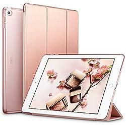 ESR Yippee Smart Case pour iPad Air 2, Smart Case Cover [Cuir synthétique] Translucide givré arrière magnétique avec Fonction Veille/réveil Automatique [Poids léger] (Or Rose)