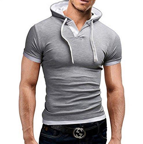 JWBBU Herren Hoodie Polo Shirt Kurzarm mit Kapuze Mann T-Shirt Weißes Grau