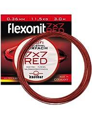7x7  Red 7x7 0,27mm 25cm 2St. Flexonit Stahlvorfach mit Wirbel und Karabiner