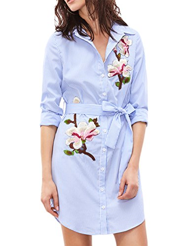 Azbro Women's Floral Embroidery Striped Button Down Shirts with Belt Blue