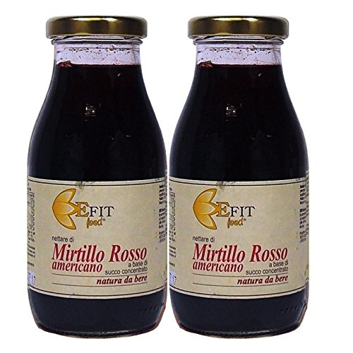 Nettare di Mirtillo rosso americano - Efit - 255ml - Confezione da 2 pezzi - Succo di frutta 100% naturale