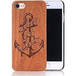 Sunroyal® Funda Madera iPhone 5 5S Wooden de Bambú Natural de la Trasera Cubierta Lujo Bumper Shell para iPhone 5 5S [Ultra Slim] Retro Carcasa Absorción de Impactos Madera Real Duro de Parachoques Móvil +1x Protector de Pantalla - (Ancla Anchor)